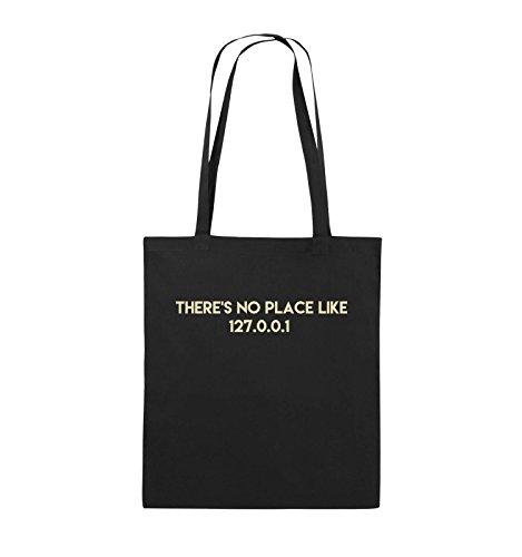 Comedy Bags - THERE'S NO PLACE LIKE 127.0.0.1 - Jutebeutel - lange Henkel - 38x42cm - Farbe: Schwarz / Silber Schwarz / Beige