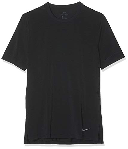 Nike Herren Dri-FIT Kurzarm-Yoga-trainingsoberteil, Black/(Dark Grey), L