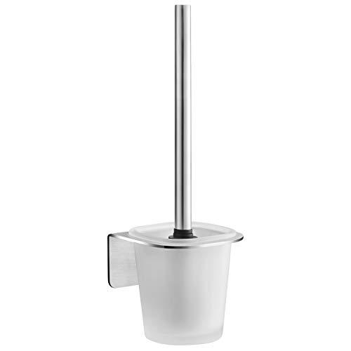 WEISSENSTEIN Toilettenbürstenhalter Set zur Wandmontage ohne bohren - WC-Ganitur Set mit Bürste, Bürstenhalter aus Glas, Edelstahl Halterung zum kleben -