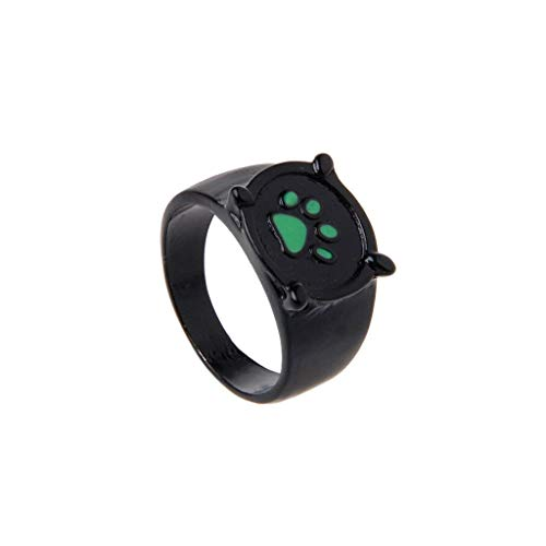 arienkäfer Katze Noir Cartoon Green Pawprint Black Cat Ring für Cosplay ()