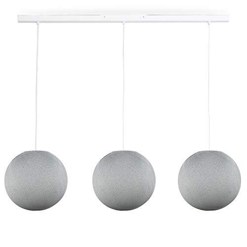 Rail Blanc 3 Globes S Gris Perle