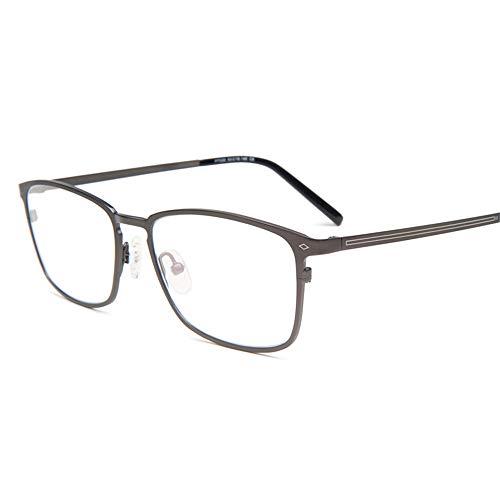 HAIBUHA Brille Retro Ultraleicht Reines Titan Brillengestell Anti-Blaulicht Flacher Spiegel Unisex (Farbe : Gray)