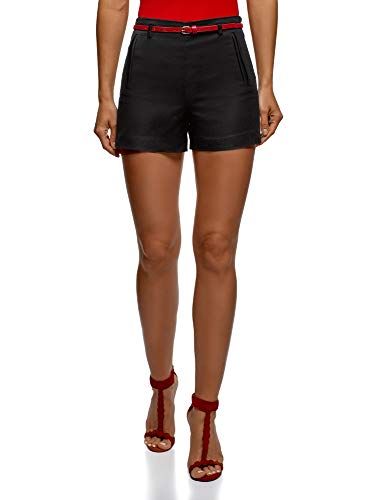 oodji Ultra Damen Baumwoll-Shorts mit Gürtel, Schwarz, DE 42 / EU 44 / XL