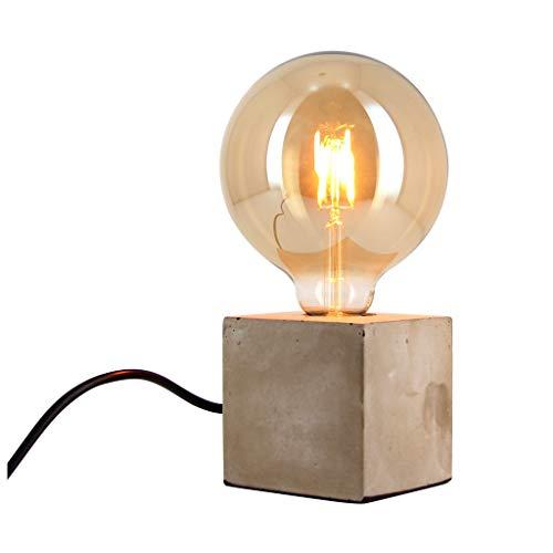 Xanlite | CDEC01B125F, Lampe à poser cube en béton + ampoule globe G125 vintage incluse
