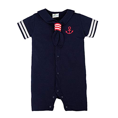 Milkiwai Infant Baby Jungen Mädchen Outfit Sommer Kurzarm Sailor Nautical Romper Dress (Color : Navy Boy, Size : 95)