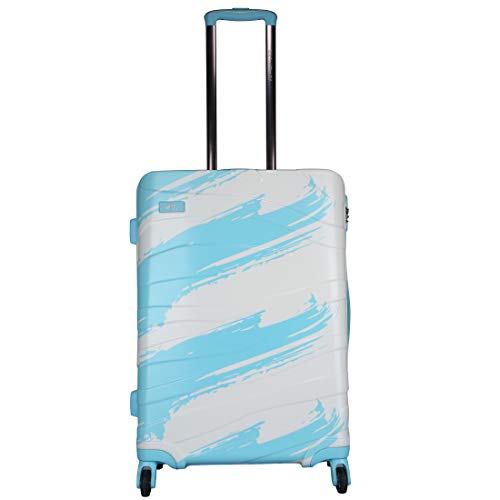 Fly Crayons Trolley Bags for Travel 55 Cms Polycarbonate Aqua Blue Cabin Check-in Luggage 4 Wheels Hard Suitcase