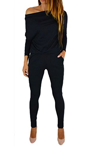 782b64e25cc Frauen Mit Langen Ärmel Einer Schulter - Nacken Lange Hosen Culotte Overalls  Rompers Mit Taschen Black