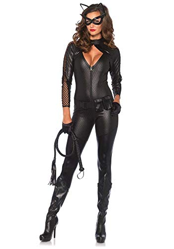 shoperama Wicked Kitty Damen-Kostüm von Leg Avenue Catsuit Batman Catwoman Katze Overall, - Original Catwoman Kostüm
