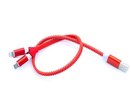 LoongGate Dual Head (2 in 1) Reißverschluss Zip USB-Ladekabel mit Micro-USB, Beleuchtung 8 Pin für iPhone x / 8/7/6/5, Samsung, HTC, Micro-USB-Gerät - 0,4 Meter (1,2 ft) - Red