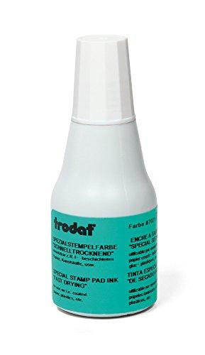 Trodat 7021 schnelltrocknende Stempelfarbe weiß - Nachtränkfarbe für Handstempelkissen, 1 Flasche à 25 ml