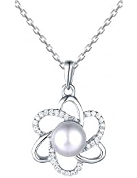 Flower Power Pearl Necklace In 925 Sterling Silver, Necklace For Women- By Ornate Jewels