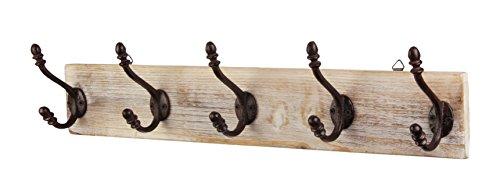 Wandhaken Kleiderhaken Garderobe Holz Gusseisen 60 cm Antik-Look