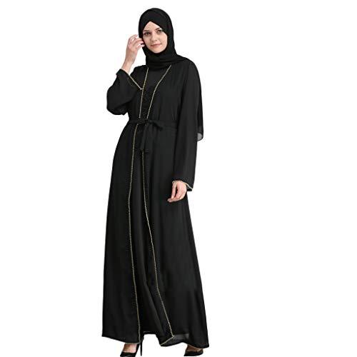 CixNy Damen Kleider Röcke Islamischen Arabisch Sommerkleider Strandkleid Sommer Muslim Hot Rrilling Verziert Art Und Weise Perlenstickerei Stickte Lose Robes Abendmode Tüllkleid (Schwarz, Large)
