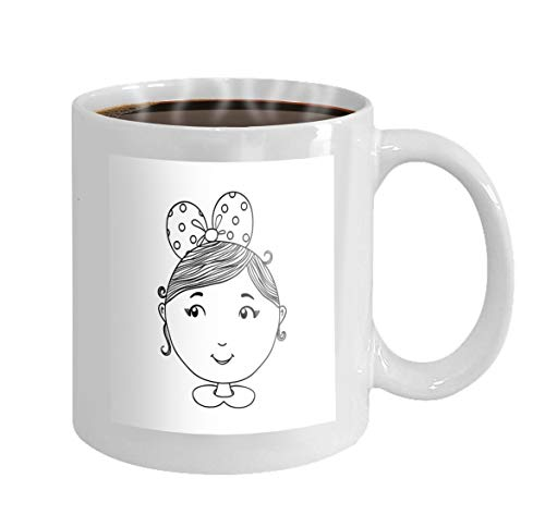 11 oz Coffee Mug cute girl background hand drawn can be use apparel kid textile card pin print design cartoon c other Novelty Ceramic Gifts Tea Cup -