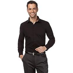Vincenzo Boretti Camisa de Hombre, Corte Ajuste Recto/Regular-fit, 100% algodón, Manga-Larga, Cuello Kent, con entredós de Contraste, Lisa - no Necesita Plancha Negro 43/44