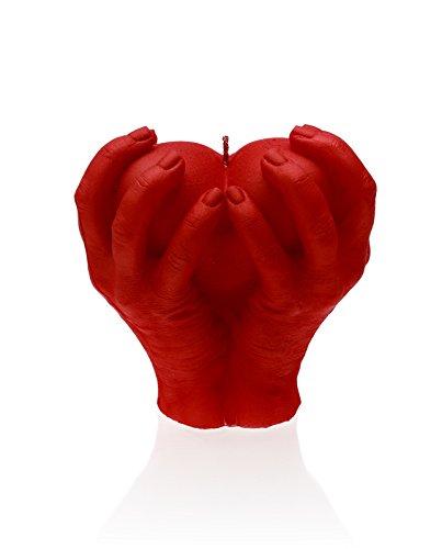 candellana Kerzen candellana-Holding Herz Kerze, rot
