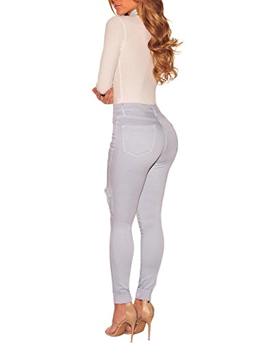 Jeans Femme Taille Haut Troué Skinny Pantalons Longueur Cheville Élastique Jean droit Comme image