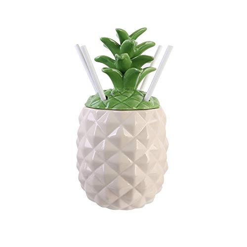 Pick and Drink KA3064 Cocktail-Set Mason Jar Ananas, Keramik, Weiß, 13,8 x 13,8 x 27 cm