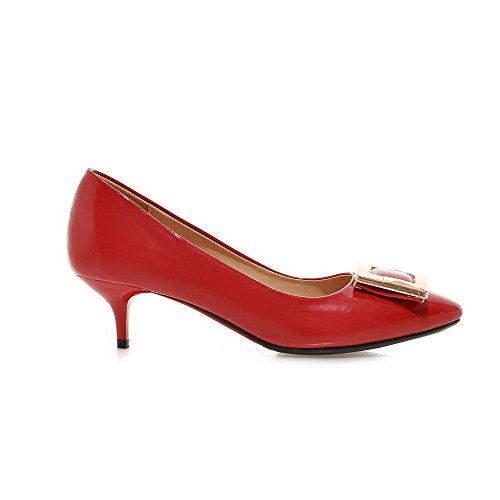 VogueZone009 Femme Tire Fermeture D'Orteil Pointu à Talon Correct Pu Cuir Mosaïque Chaussures Légeres Rouge