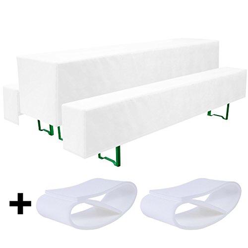 Beautissu Comfort M gepolsterte Bierbank-Hussen & Tisch-Husse 5 tlg. Set für 50cm breite Bierzeltgarnitur Weiß