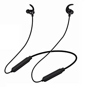 PunnkFunnk BE789 Wireless Neckband Earphones with mic, IPX4 Sweat & Water Proof, up to 12 Hours Playtime, Magnetic Earbuds, Bass Stereo Sports Bluetooth Headphone with HD Sound (Black)