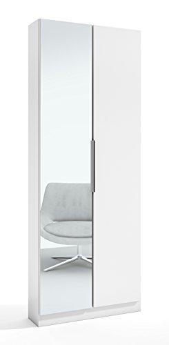 Abitti Zapatero Milano en Color Blanco con 2 Puertas, una Puerta con Espejo, baldas y Varillas en el Interior 70x180x20 cm