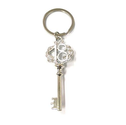 Takestop® set 12 pezzi bomboniera bomboniere argento scritta 18 anni chiave chiavi compleanno festa auguri portachiavi