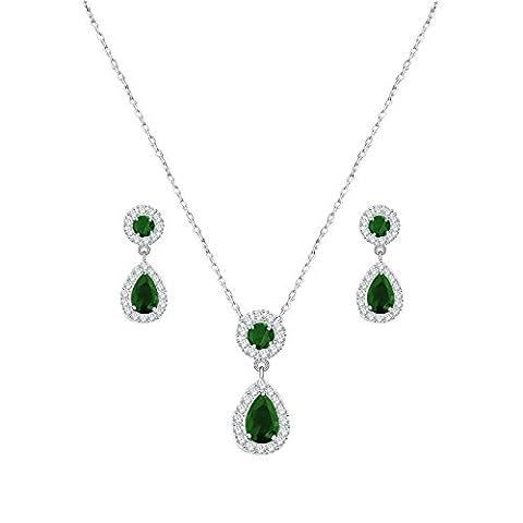 QUKE Damen CZ Grün Smaragd-Farbe Zirkonia Kristall Ohrhänger hängend Ohrringe Braut Halskette Schmuck (Grüne Braut Schmuck)