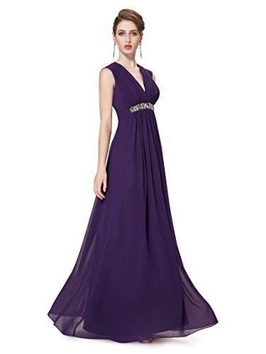 Ever Pretty Robe de cocktail longue V-col et la taille orn¨¦e des diamants 08220 Violet