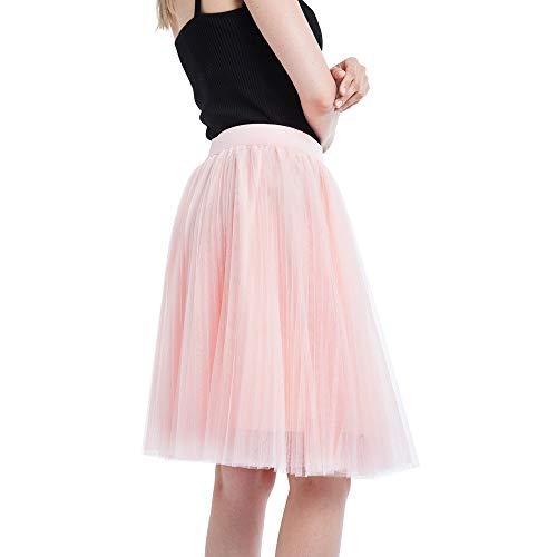 A-Artist Damen Rock Tutu A-Linie Tüllrock Knie Länge Normale Ballet 4 Layers Tanzkleid 50er Unterkleid Zubehör Für Frauen Mädchen Damenrock Cosplay Crinoline Petticoat Rockabilly (Orange)
