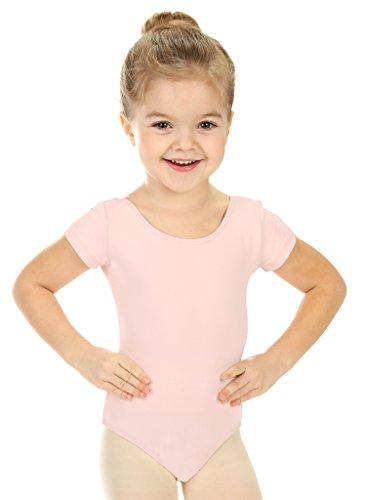 elowel Kinder Mädchen Basic Kurzarm Ballett Trikot Tanztrikot Gymnastikanzug Turnanzug Trikot (Größe 8-10 Jahre) Hellrosa (Größe Gymnastik Turnanzug 10 Mädchen)