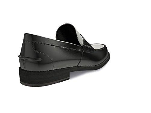 Chaussures Sur Mesure - College - Man Veau noir brillant blanc