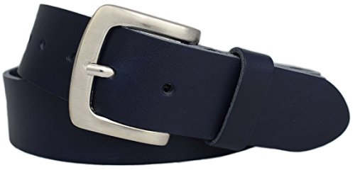 Green Yard Stabiler Premium Vollledergürtel aus 100% echtem Leder, 4cm Breit Herrengürtel/Damengürtel Gr.-85 cm Bundweite = 100 cm Gesamtlänge, Navy-blau - Leder Zwei Stück Anzug