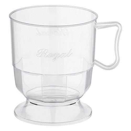 Silverkitchen Henkeltasse Kaffeetasse Plastik Einweg transparent Einwegbecher 200 ml 60 Stück.