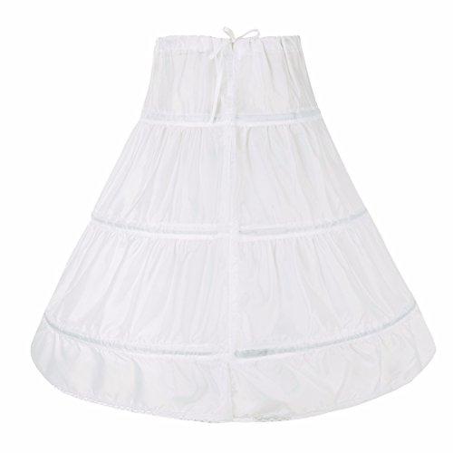 Petticoat Krinoline Slip Kostüm - FEESHOW 3 Ringe Reifrock Petticoat Krinoline Unterrock für Hochzeit Brautkleid Blumenmädchenkleid Abendkleid Ballkleid Weiß 65 (Mädchen)