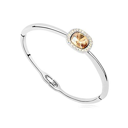 Aooaz placcato in oro bianco braccialetto per le donne, matrimonio bracciale braccialetti CZ Zirconia cubica, bianca piazza oro