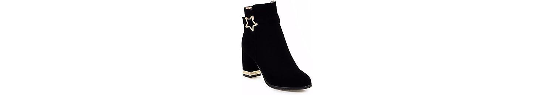 La mujer botas de gran tamaño, botas de metal, botas de gamuza,negro,35 -