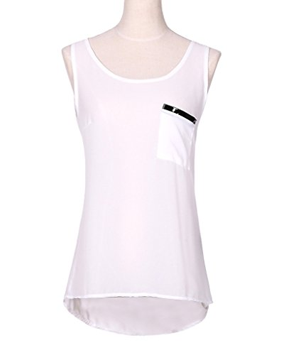 Smile YKK Vogue See-through Femme T-shirt sans Manche Sexy Top en Chiffon Blanc