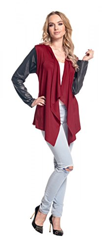 Glamour Empire Femme Veste cascade manches simili-cuir gilet matière T-shirt 098 Cramoisi