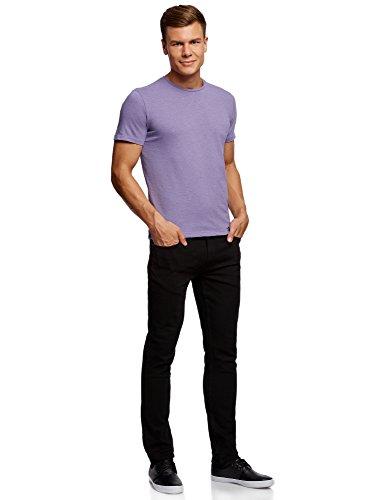 oodji Ultra Herren T-Shirt Basic Violett (8300N)