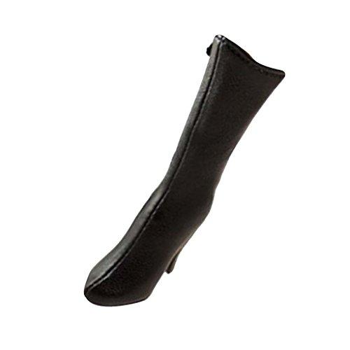 1:6 Frau Figur Kleidung Knie PU Leder Stiefel Schuhe Miniatur Boots Schwarz - Schwarze Leder-boot-frau