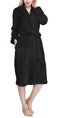 urbancoco-womens-super-plush-microfiber-fleece-bathrobe-robe-with-side-pockets-m-black