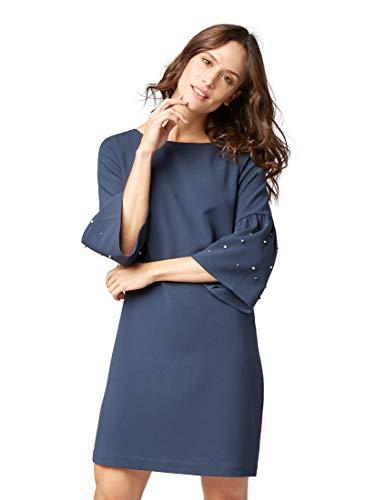 en Kleider & Jumpsuits Kleid mit Perlen-Applikationen Sky Captain Blue, 34 ()