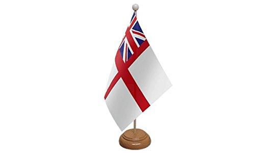 22,9x 15,2cm weiß Ensign Navy Naval Großer Desktop-Tabelle Flagge mit Sockel aus Holz & Pole ideal für Party Konferenzen Büro Display