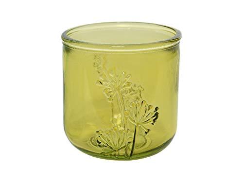 MI CASA Kerzenhalter aus Glas, 9 x 9 cm, Gelb