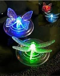 4 X Changement de couleur solaire Floating Garden étang lumières Papillon (2 x et 2 Libellule) NEUF