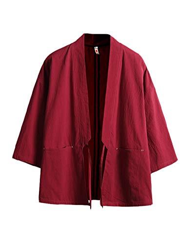 Tradicional Japonés Kimono Cárdigan Haori Cloak Abrigo Capa - Cuello de Chal Manga 3/4 - para Hombre...