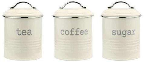 Zhaoyun Retro-Aufbewahrungsdosen für Tee, Kaffee, Zucker, luftdichter Deckel, 3 Stück (Copper Diamond OP175, Edelstahl) Creme Op178