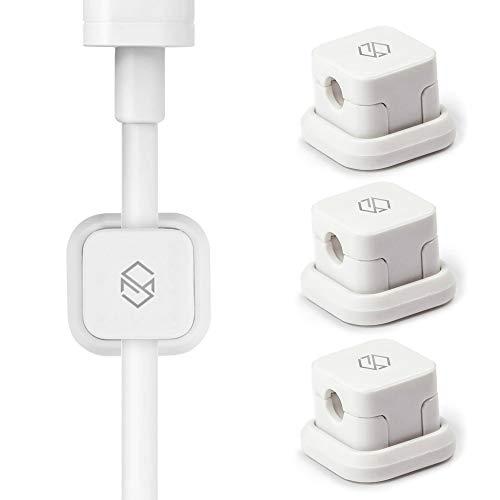 Sinjimoru Kabelhalterung, Magnetische Kabel-Clips/Kabelführung/Organisation/Flexibles Kabelmanagement für USB Kabel. Selbstklebende magnetischer Kabelbinder, Weiß, 3er Pack.