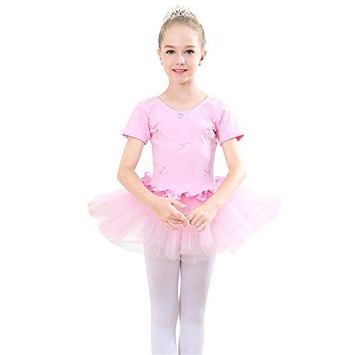 �ll Kleid Kurzarm Ballettkleidchen Sommer Festlich Kleid Kinderkostüm mit Ballett-Tutu Rock ()